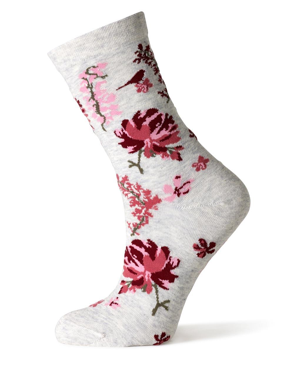 Plum floral garden city socks finch belle for Garden socks